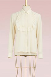 Red Valentino Silk Shirt With Ruffles Avorio