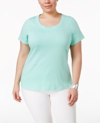 Charter Club Plus Size Pima Cotton Scoop Neck T Shirt Only At Macy's Aqua Gloss