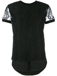 Twin Set Lace Details T Shirt Black