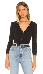 Enza Costa Military Cotton Rib Long Sleeve Henley Top In Black.