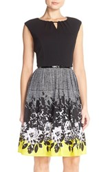 Women's Ellen Tracy Belted Floral Fit And Flare Cap Sleeve Dress