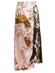 By Walid Ofra Antique Silk Skirt Pink Multi