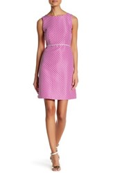 Tahari Polka Dot Fit And Flare Dress Petite Pink