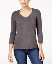 Karen Scott Petite V Neck Sweater Only At Macy's Charcoal Heather