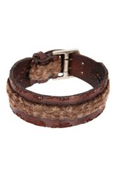 John Varvatos 20 25Mm Flannel Fabric Cuff Bracelet Brown