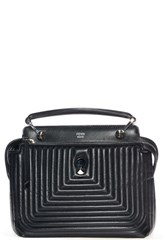 Fendi 'Dotcom Click' Quilted Leather Satchel Black Black Palladium