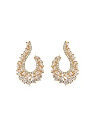 Mikey London Loop Design Cubic Embed Edged Earrin Gold