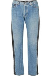 Vetements Leather Paneled High Rise Straight Leg Jeans Light Denim