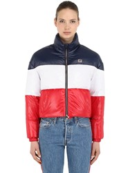 Levi's Tricolor Nylon Down Jacket Red White Blue