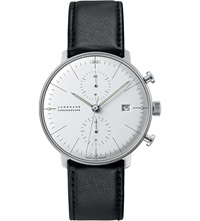 Junghans 027 4600.00 Max Bill Chronoscope Stainless Steel And Leather Watch Silver
