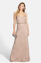Petite Women's Adrianna Papell Embellished Blouson Gown Taupe Pink