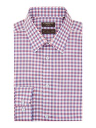 Corsivo Nico Two Colour Check Cotton Shirt Sky Blue