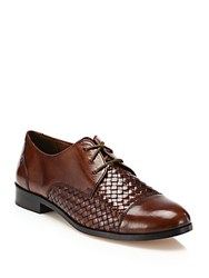 Cole Haan Jagger Woven Leather Oxfords Brown