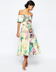 Asos Premium Off The Shoulder Bardot Midi Prom Dress In Large Bright Floral Multi