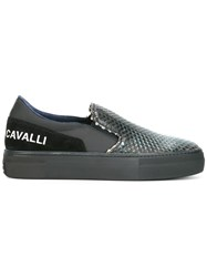 Roberto Cavalli Snakeskin Effect Slip On Sneakers Blue