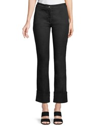 Piazza Sempione Mid Rise Straight Leg Cropped Jeans W Cuffs Black