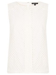 Warehouse Basket Weave Lace Shell Top Cream