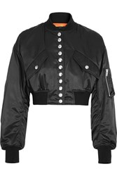 Alexander Wang Cropped Satin Bomber Jacket Black
