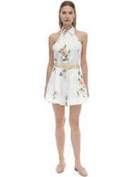 Zimmermann Low Back Printed Linen Playsuit White