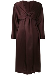 The Row Clementine Knot Detail Dress Brown