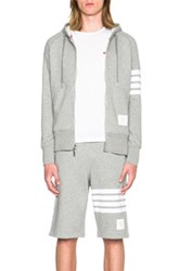 Thom Browne Cotton Zip Hoodie In Gray