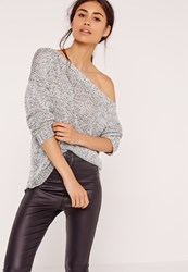 Missguided Zip Back Slouchy Off Shoulder Jumper Grey Monochrome