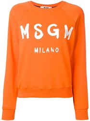 Msgm Logo Print Sweatshirt Yellow Orange