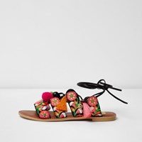 River Island Black Embroidered Wide Fit Tie Up Sandals