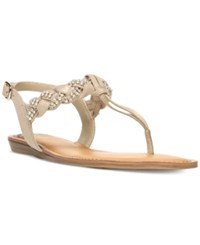 Fergalicious Shelly Braided T Strap Flat Sandals Women's Shoes Nude