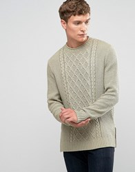 Asos Cable Knit Jumper With Side Splits Safari Green