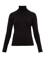 Balenciaga High Neck Rib Knitted Sweater Black
