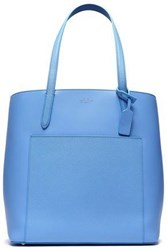 Smythson Woman Textured Leather Tote Light Blue