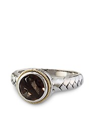 Effy Balissima Smoky Quartz Ring In Sterling Silver With 18 Kt. Yellow Gold