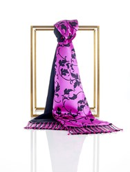 Shanghai Tang Silk Pashmina Scarf With Leaves Pattern Fuchsia