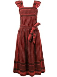 Cecilie Copenhagen Zigzag Pattern Dungaree Dress Red