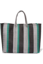 Truss Stripe Large Woven Raffia Effect Tote Green