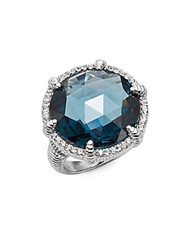Judith Ripka Eclipse London Blue Spinel White Sapphire And Sterling Silver Round Ring Silver Blue
