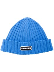 Ami Alexandre Mattiussi Ribbed Beanie With Paris Patch Blue