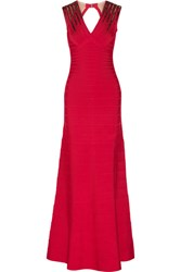 Herve Leger Bettina Embellished Bandage Gown Red
