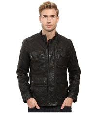 Lucky Brand Manx Leather Jacket Black Men's Coat