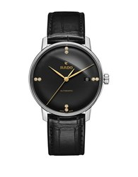 Rado Coupole Classic Automatic Stainless Steel And Leather Strap Watch Black