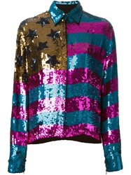 Filles A Papa Sequinned American Flag Shirt Pink And Purple