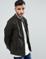 Goosecraft Austin Distressed Leather Jacket In Grey Anthra Brown