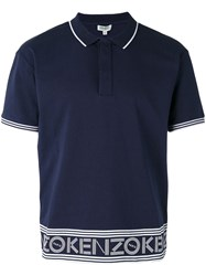 Kenzo Logo Polo Shirt Men Cotton L Blue