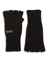 John Varvatos Wool And Cashmere Blend Fingerless Gloves Black