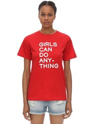 Zadig And Voltaire Printed Cotton Jersey T Shirt Red