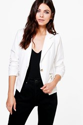 Boohoo Zip Pocket Blazer Cream