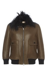 Marni Leather And Goat Fur Bomber Brown