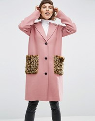 Asos Coat In Wool Blend With Faux Fur Leopard Pockets Pink