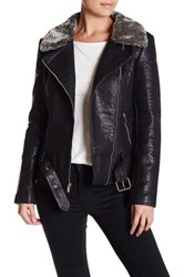 Rachel Roy Faux Leather Jacket With Faux Fur Collar Black